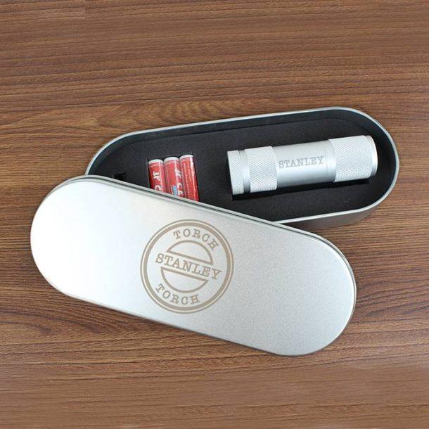 Personalised Stamp Motif Torch in Tin Set