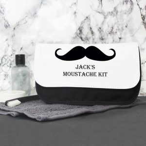 Personalised Moustache Wash Bag For Him