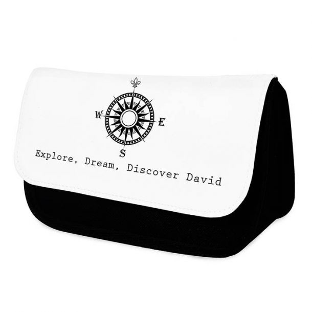 Personalised Mens Compass Wash Bag