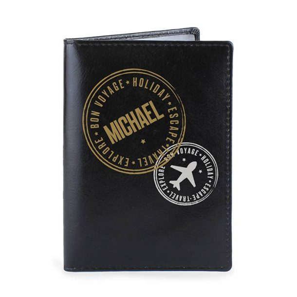 Personalised Stamped Black Leather Passport Holder