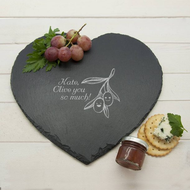 "Personalised ""Olive You So Much"" Slate Cheese Board"