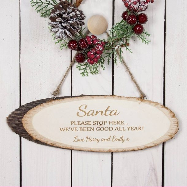 Personalised Santa Please Stop Here Wooden Sign