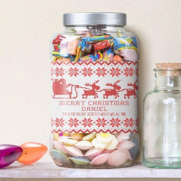 Personalised Santa's Sleigh Retro Sweet Jar