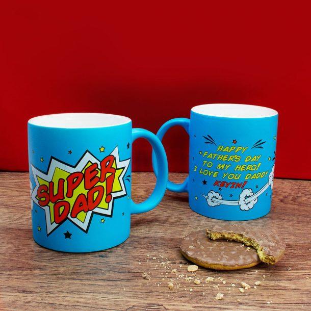 Personalised Superdad Matte Coloured Mug