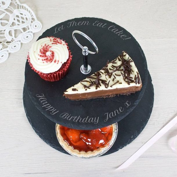 Personalised Two Tier Slate Cake Stand