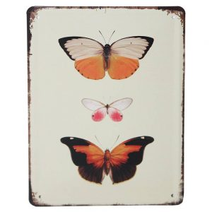 Orange Butterflies Metal Plaque