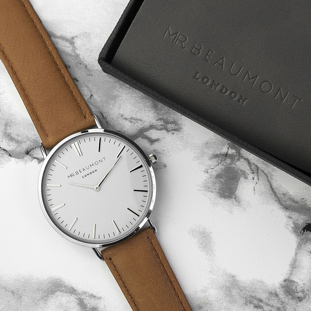 Personalised men s modern vintage leather watch love my for Modern new home gifts